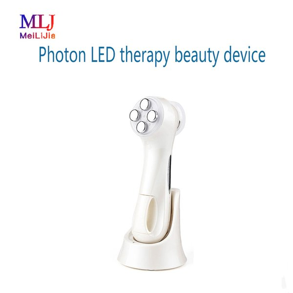Home use Vibration + Photon LED therapy beauty device color led light therapy face lifting wrinkle device