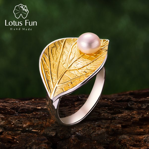 Lotus Fun Real 925 Sterling Silver Natural Pearl Handmade Designer Fine Jewelry Creative Open Ring Leaf Rings For Women Bijoux J190611