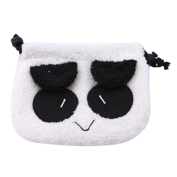 1pc Panda Soft Plush Pencil Pen Case New Cartoon Cute Makeup Cosmetic Pouch School Supplies Gift Stationery Winter Coin Bags