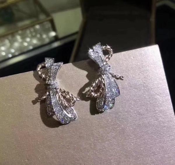 Luxus Berühmte Marke S925 Sterling Silber Voller Kristall Schmetterling Knoten Bogen Charme Ohrstecker Für Frauen Schmuck