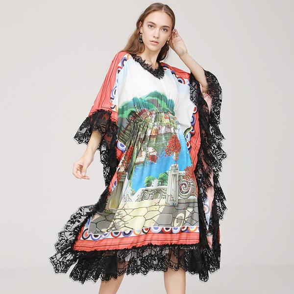 2019 Summer New Style Lace Loose Landscape Print Bat Dress