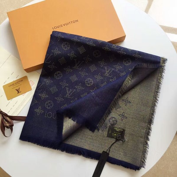 2019 New arrival Top Quality Celebrity design Wool cashmere Silk scarf Wrap shawl Letter printing Scarves 140*140cm navy blue gold Thread