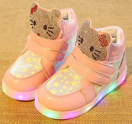 factory sell Children's LED sports shoes Baby girl student Lighted night running sneakers antiskid soft soled cartoon kitt leather shoes
