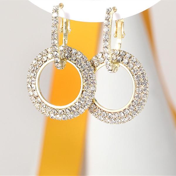 Gota de cristal Brincos Pingente de Strass Luxo Brilhante Negrito 18 K Rose Gold Gold Silver Dangle Brincos Para As Mulheres Senhora Festa de Casamento Jóias