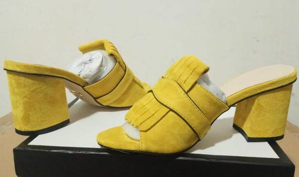 DHL Frete Grátis, Mulheres 458051 Camurça 7 cm Sandálias de Salto Médio-Deslize, Dobre detalhes de franjas, Tamanho 35-42 com Caixa de Sapatos