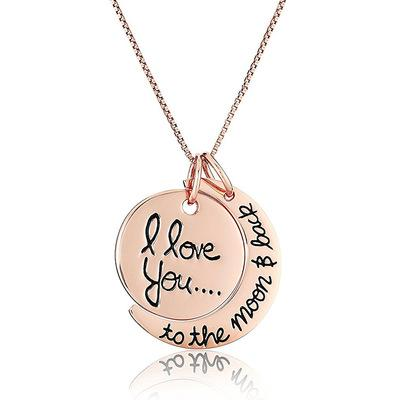 Hot 4Styles I Love You To The Moon and Back Necklace Lobster Clasp Hot Pendant Necklaces