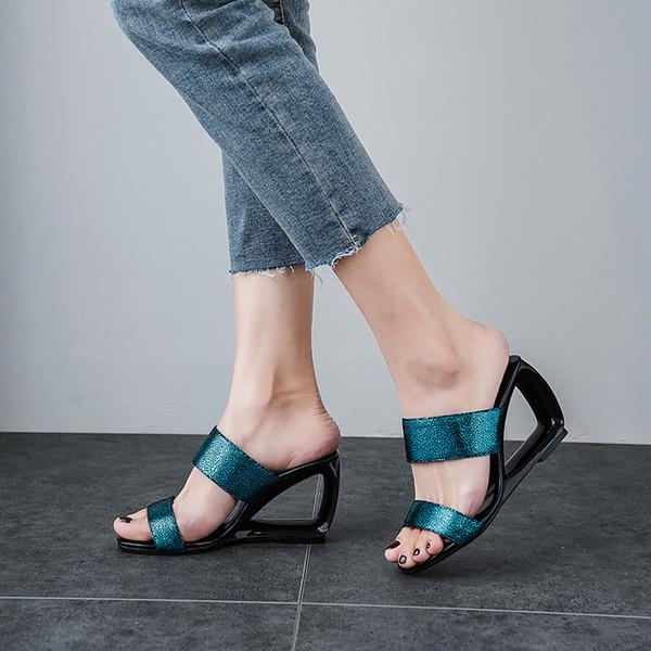 YMECHIC 2019 Fashion Bling Blue Silver Slippers Women Strange High Heels Hollow Wedges Shoes Summer Ladys Slides Big Size Sandal
