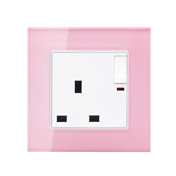 Tomada de parede de cor rosa e painel de vidro 13A Tomada de parede de 3 pinos com 1 interruptor de parede Gang