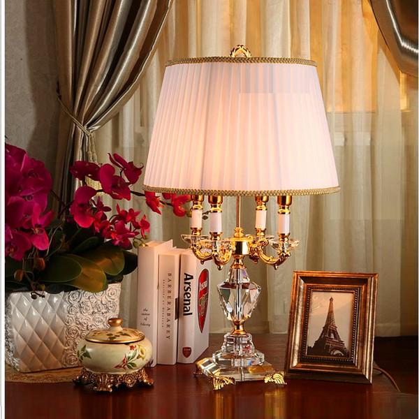 Modern Kristal Lamba aydınlatma yatak odası başucu lüks moda kristal masa lambası Abajur başucu otel masa lambası k9 Lüks