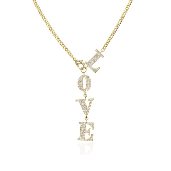 New Y lariat Geometric Letter Charm choker LOVE Zircon long Pendant Necklaces 53cm Long Chain For Women Wedding Jewelry Gift