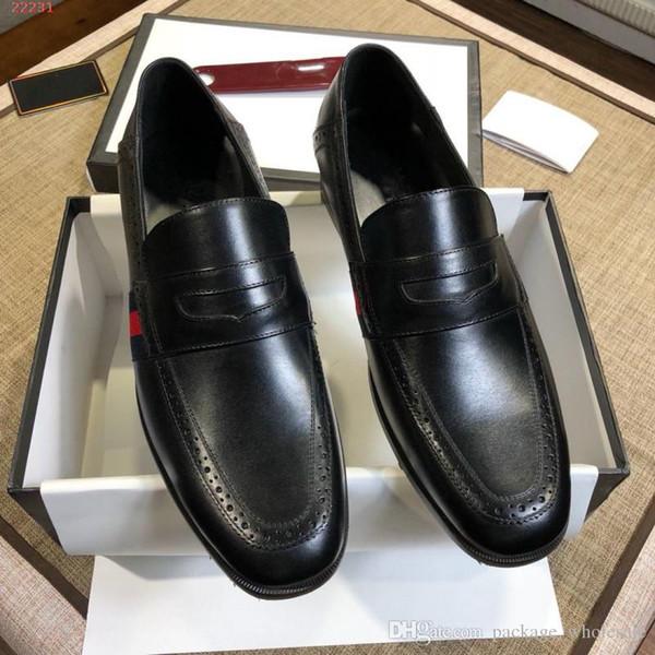 Mode braune und schwarze Männer Kleid Schuhe Pailletten Importierte Schaffellfutter Classic Lackleder Leder und atmungsaktive Stoffe