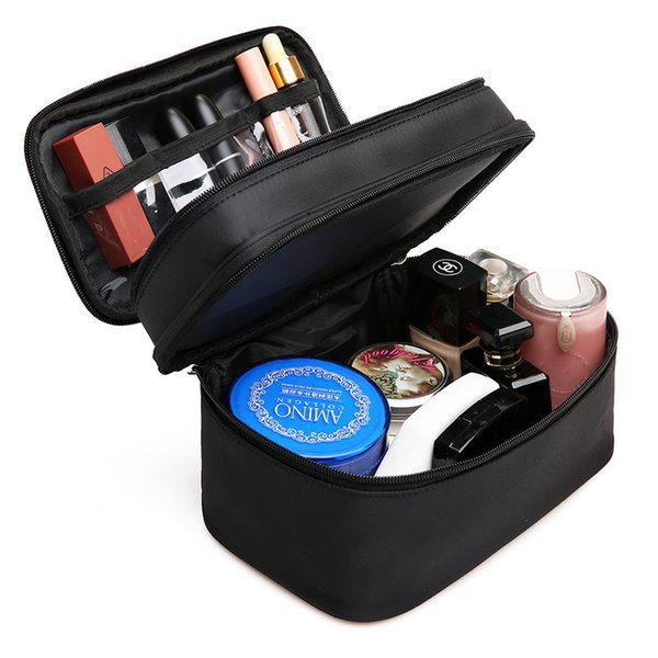Women's Double Layer Cosmetic Bag Box Waterproof Oxford Makeup Case Travel Organizer Necessary Beauty Vanity Toiletry Wash Pouch J190715
