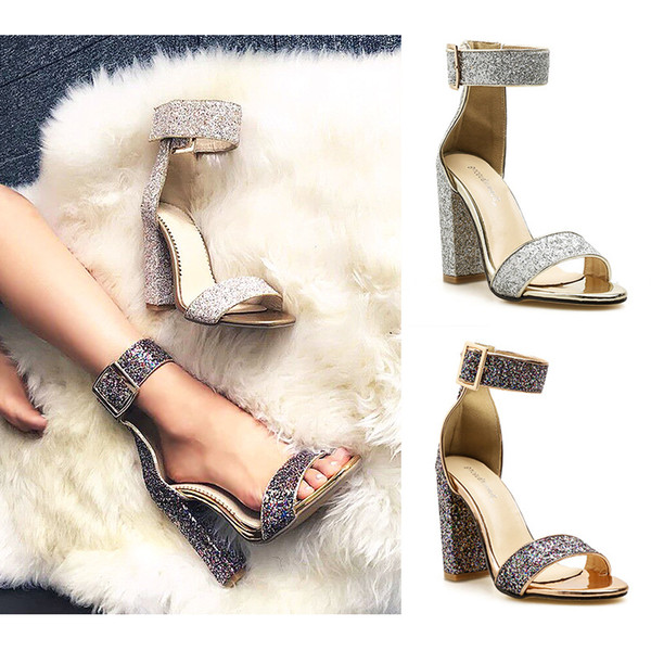 Sequins designer chunky heel banquet sandals fashion open toe hollow ankle buckle high heels dress shoes large size 35-40