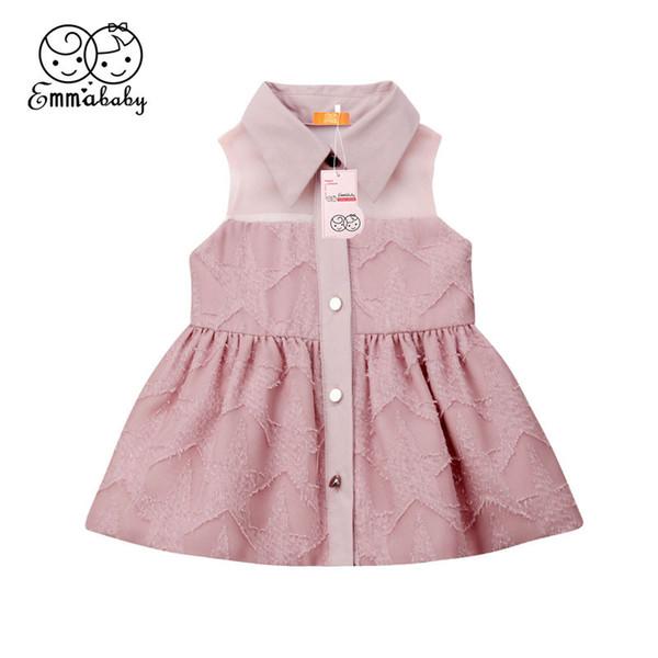 Großhandel Baby Mädchen Knopf Kleid Neugeborenen Sommer Kinder Kleidung Infant Party Hochzeit Taufe Outfit Kleinkind Prinzessin Tutu Kleider 3 24 Mt
