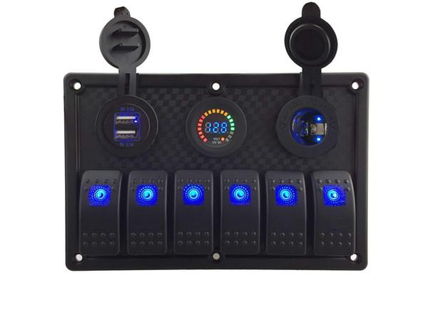 6 Gang / 8 Gang LED azul Barco Marinha on-off Rocker Switch Painel com Carregador de Energia 12 V Voltímetro e 4.2A dupla tomada USB para Marine Boat Car