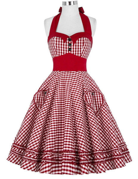 50's 60s Verão Estilo Mulheres Vestido Vestidos Xadrez Rockabilly Do Vintage Pin Up Balanço Vestidos Vestido S-2XL