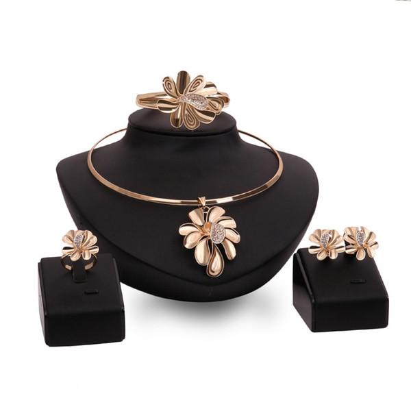 Transmitir el amor color dorado Conjuntos de joyería nupcial para mujer Flor Collar Pendientes Anillo Pulsera Conjuntos de joyería de compromiso