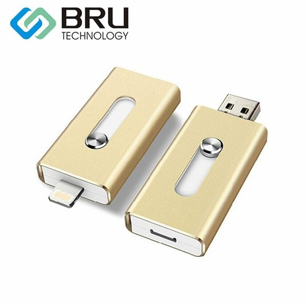 Топ продажа OTG USB флэш-накопитель 8GB16G32G64G128G для iPhone 5S / 6 / 6S / 7plus / 8X iPad Android многофункциональный флешки