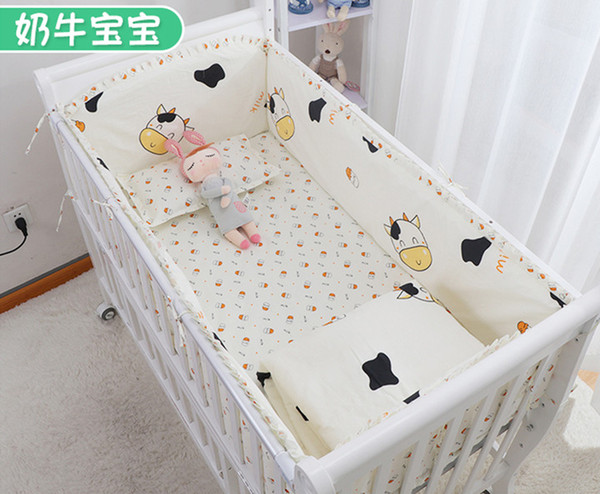 Promotion! 6PCS Crib Cot Baby Bedding Set for Girl Boy Newborn Baby Bed Linens (bumpers+sheet+pillow cover)