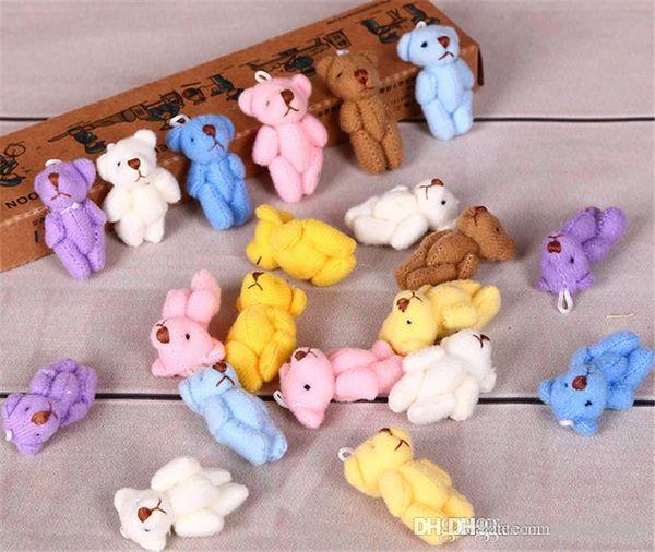 Wholesale-1PC Super Kawaii Mini 4cm Joint Bowtie Teddy Bear Plush Kids Toys Stuffed Dolls Wedding Gift For Children