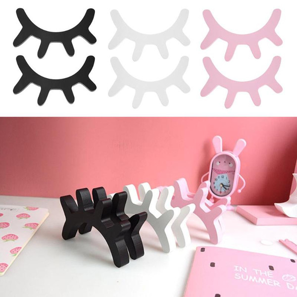 2pcs Nordic Cute Wood Eyelashes Pattern Cartoon 3D Sleepy Eyes Wall Sticker Bedroom Props Baby Room Decoration