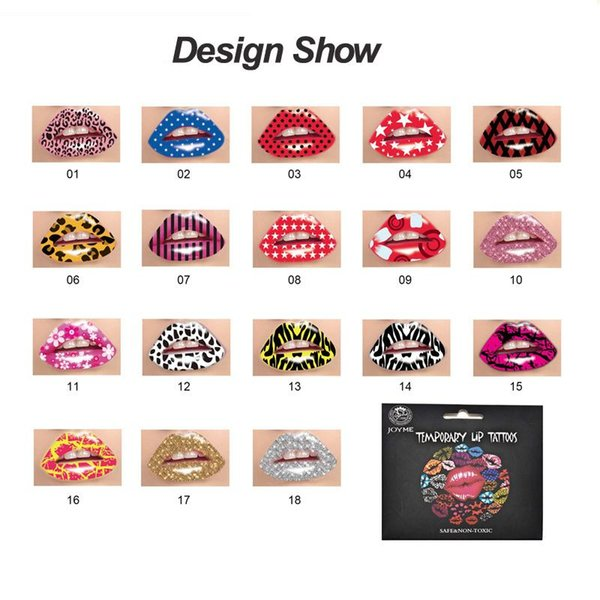 Wholesale Mix Design Waterproof Disposable Temporary Tattoo Lip Stickers Red Gold Silver indians Style Halloween Christmas