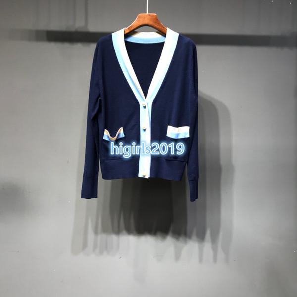 High end Women girls cardigan sweater jacekt v-neck long sleeve t-shirt jacquard sweater knit tops tees blouse STRETCH shirts Pearls button