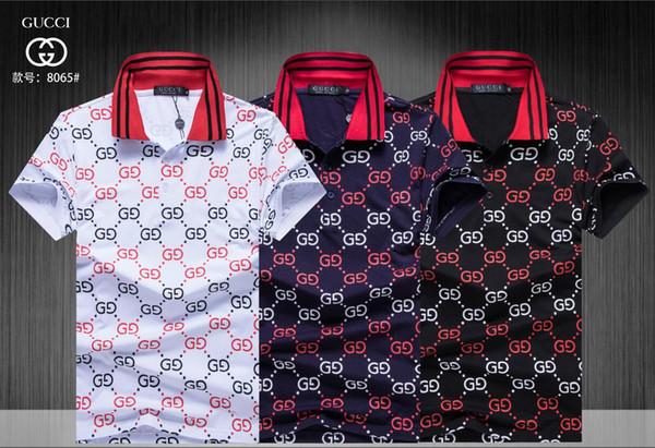 2019 erkek Polo Gömlek Tarzı Yaz Moda Erkekler Yaka Polo Gömlek Pamuk Slim Fit Polos En Casual Camisas Masculinas Artı Boyutu M-3XL 0007