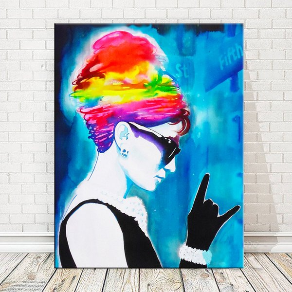 1 Piece Music Canvas Painting Wall Art Pictures Home Decor Prints Audrey Hepburn On Canvas No Frame Wall Poster Decoration No Framed