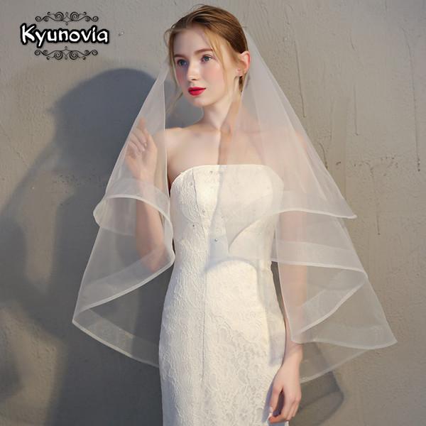 Velo da Sposa Matrimonio con Pettine Bianco Avorio Cattedrale Corto 2T Gomito di raso bordo d