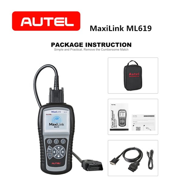 AUTEL Autolink ML619 OBD2 Scanner CAN SRS ABS AirBag Automotive Diagnostic Tool EOBD OBDII Clear Code Reader Car Accessories