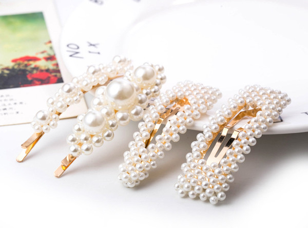 top popular Fashion Pearl Hair Clip for Women Elegant Korean Design Snap Barrette Stick Hairpin Hair Styling Jewelry Accessories 2019