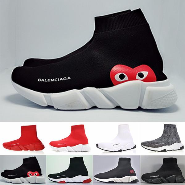 Tasarımcı Sneakers Hız Trainer Siyah Kırmızı Gypsophila Üçlü Siyah Moda Düz Çorap Çizmeler Rahat Ayakkabılar Hız Trainer Runner Toz Torbası Ile ZK