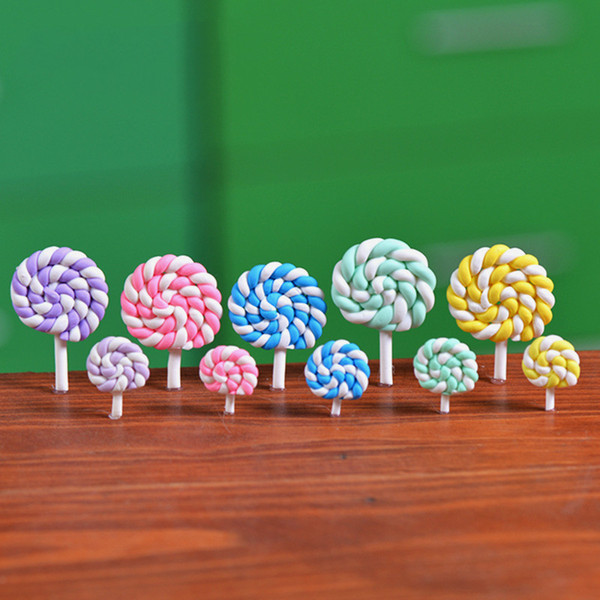 best selling Colorful Polymer Clay Lollipops Soft Clay DIY Assembled Toys Miniature Fairy Garden Decoration Micro Landscape Accessory Cactu Planter Gift