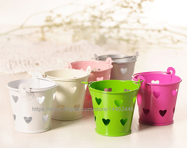 200pcs Heart Hollow Metal Wedding Party Shower Gift Mini Small Assorted Colored Tin Pails Buckets Bucket Candy Chocolate Box