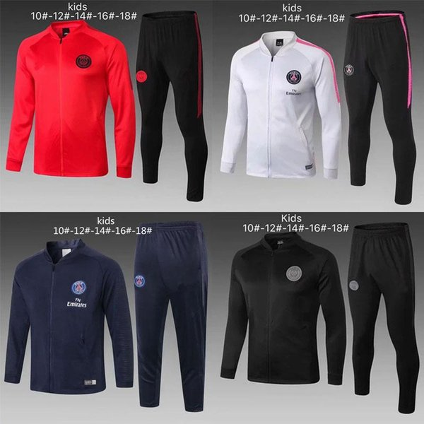 2018 2019 Paris kids soccer jackets PSG uniforms sportswear 18 19 Mbappe DI MARIA Training suit football Tracksuits jackets