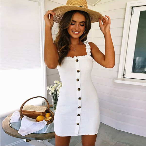 Backless Sexy Lace Up Cotton Dress Women Sundresses Summer 2019 Sleeveless Slim Bodycon Club Wear Dresses Robe Femme designer clothes