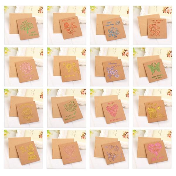 1pc Nuovi biglietti d'auguri con busta Cartolina postale vuota per la decorazione di nozze per feste di compleanno di San Valentino