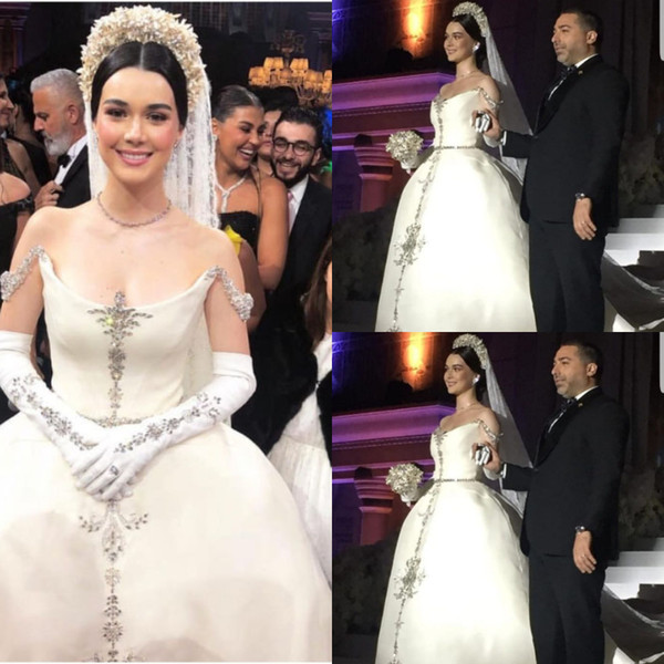 5e345d0cfcf4 Spark Bling Crystal Beaded Ball Gown Wedding Dresses Off Shoulder Boat Neck  Rhinestone decoration Bridal Gowns