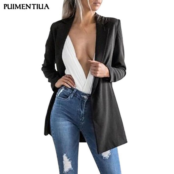 Puimentiua Femmes 2019 Mode Casual Cardigan Revers Costume Blazer Couleur Unie Simple À Manches Longues Blazer Travail Bureau Outwear