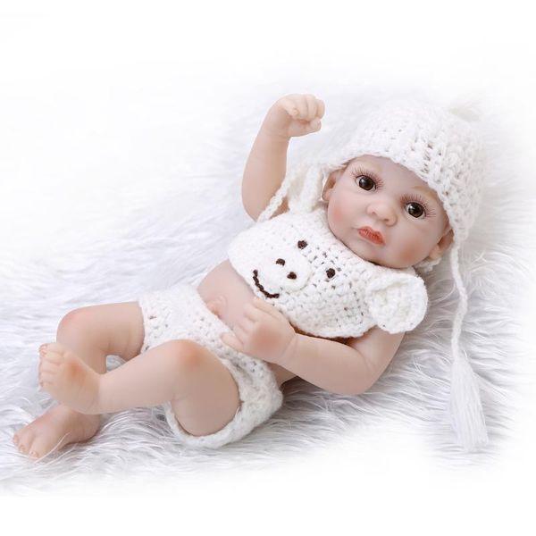 25cm Full body silicone reborn baby dolls toy lifelike mini newborn boy bibies birthday gift for girl bedtime bath shower toy