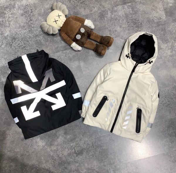 Winter Baby Girl Boy пальто с капюшоном Куртки утепленные детские отражающими свет Открытый Толстые Дети пальто Верхняя одежда Parkas