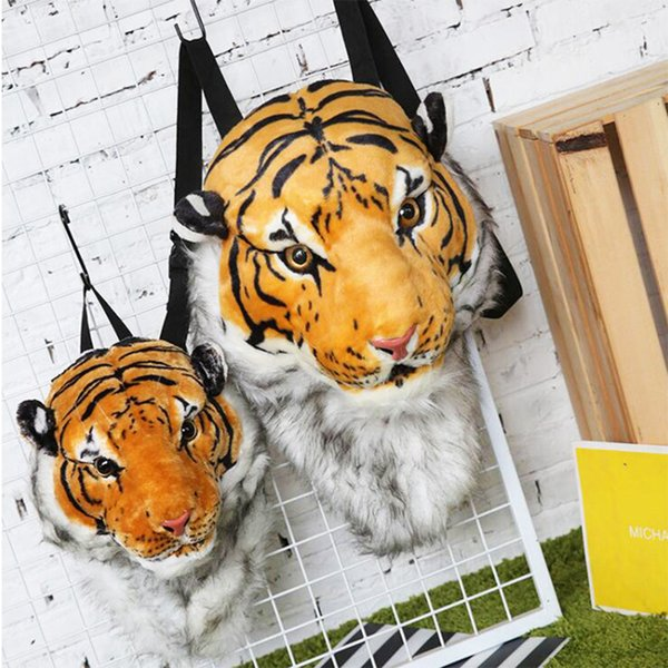 Fashion Plush 3d Tiger Lion Head Backpack Panda Backpack Unisex Personality Couple Animal Backpack Student Funny Travel Bag 2019 Y190627