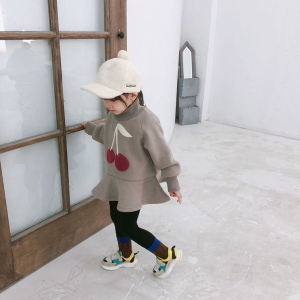 2019 Winter New Arrival korean style cotton thickened Cherry Embroidered all-match high collar dress for cute sweet baby girls