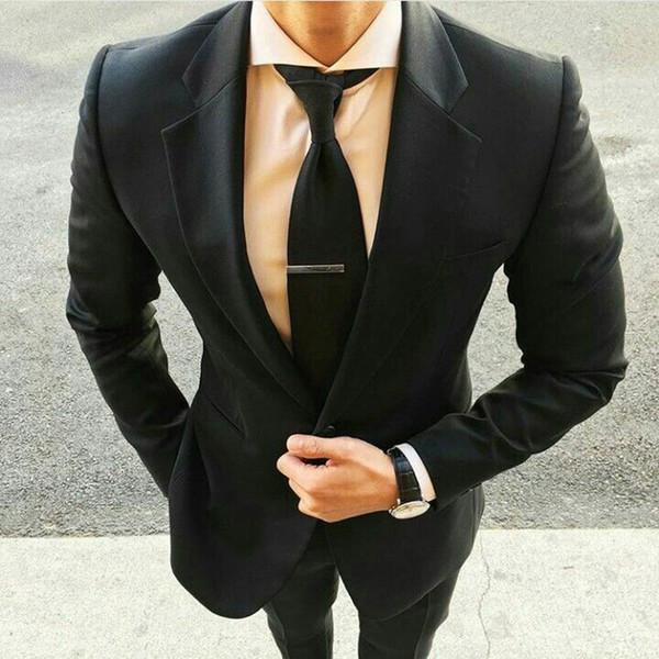 Formal Groom Tuxedo Men Suits for Wedding Black Business Man Office Blazer Custom Made Costume Homme 2 Piece(Coat+Pants)Terno Masculino