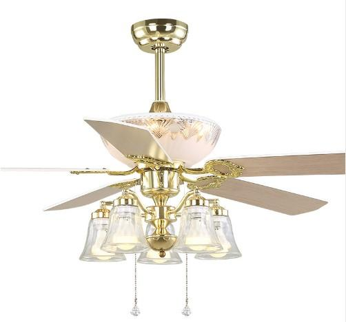 top popular 52 inch Europe Gold Modern LED Wooden Ceiling fans With Lights Remote Control Living Room Bedroom Home Fan Lamp 220 Volt LLFA 2021