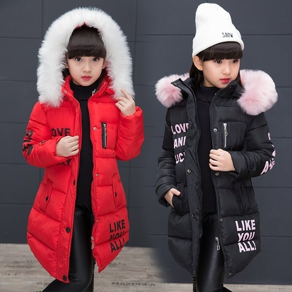 Kids Winter Jacket Girl Faux Fur Hooded Fashion Letter Printed Zipper Coats Warm Outerwear Down Jackets Baby Girl Red/Black Parka