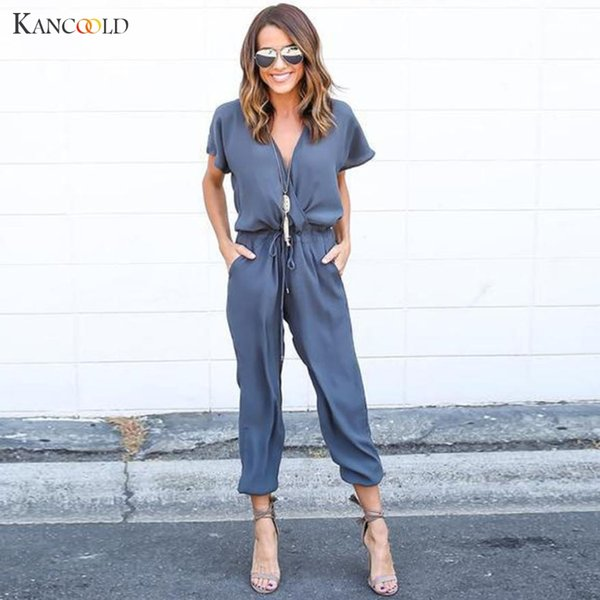 New Fashion Overalls Summer Style 2017 Women Casual Solid Chiffon Short Sleeve Long Playsuits Rompers Womens Jumpsuit
