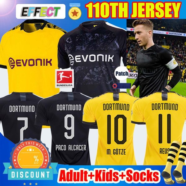 top popular Thailand Maillots de foot Borussia Dortmund Soccer Jersey 110th Black REUS M.GOTZE SANCHO 17 HAALAND football shirts HUMMELS PACO Kids socks 2020