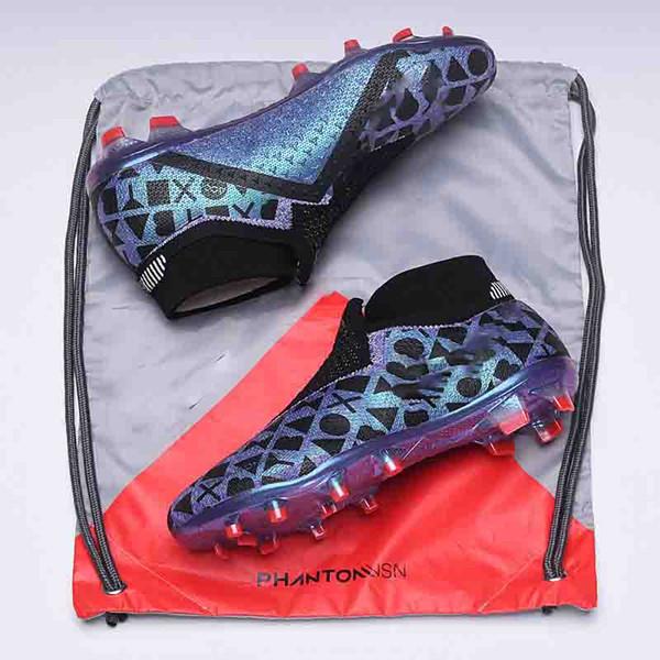 2018 새로운 팬텀 VSN 엘리트 DF FG 양말 풋볼 부츠 Mens 브랜드 스니커즈를위한 패션 디자이너 축구화 최고 품질의 스포츠 신발 39-45